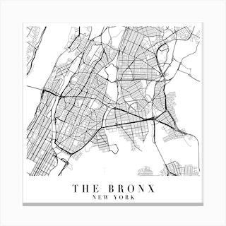 The Bronx New York Street Map Minimal Square Canvas Print