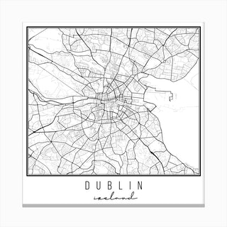 Dublin Ireland Street Map Canvas Print