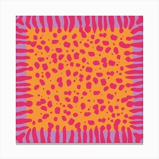 Fuchsia Cheetah Square Canvas Print