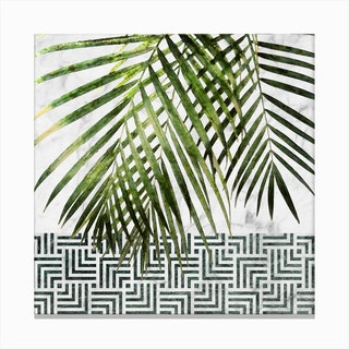 Palm Leaves on White Marble and Tiles Canvas Print