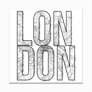 London Street Map Typography Square Canvas Print