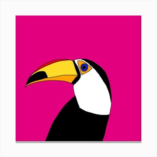 Terrence The Toucan Square Canvas Print