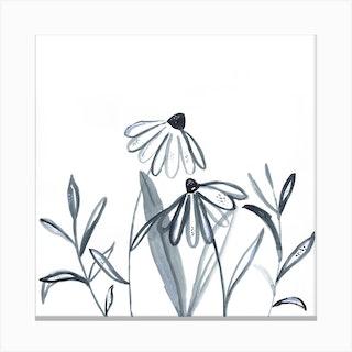 Wildflower Line Work Illustration Canvas Print
