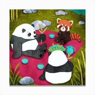 Pandas Picnic Square Canvas Print
