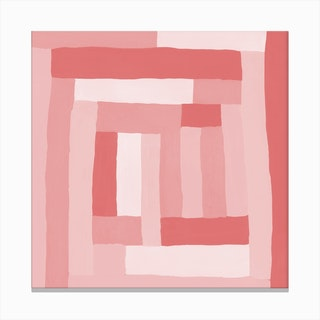 Painted Color Block Sprial In Pink Canvas Print