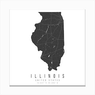 Illinois Mono Black And White Modern Minimal Street Map Square Canvas Print