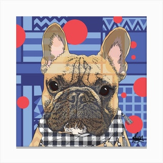 Eroc French Bulldog Square Canvas Print