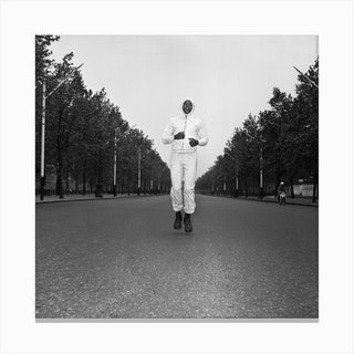 Cassius Clay Running In The Mall London Canvas Print