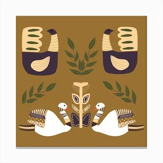 Folkie Elegant Swans And Birds 1 Canvas Print