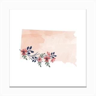 South Dakota Watercolor Floral State Canvas Print