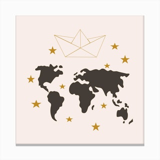 Paper Boat And World Map Square Canvas Print
