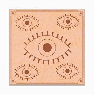 Retro Evil Eye 2 Square Canvas Print