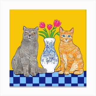 Cats Square Canvas Print