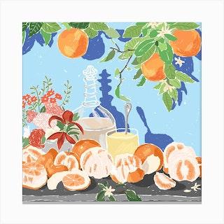 Orange Bouquet Still Life Square Canvas Print