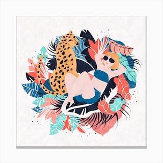 Yellow Hair Tropical Girl With Cheetah Canvas Print
