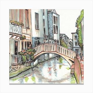 Venice Bridges Square Canvas Print