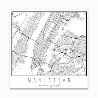 Manhattan New York Street Map Canvas Print