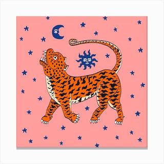 Tiger Temple Stars Pink Square Canvas Print