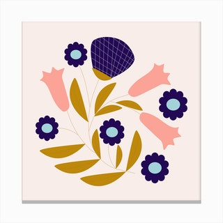 Dark Blue And Pink Retro Flower Composition 2 Canvas Print