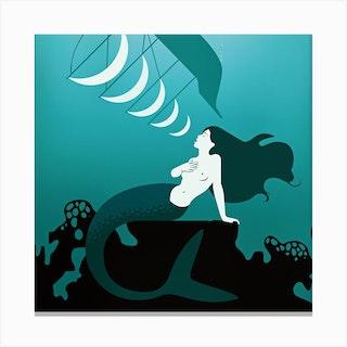 Mermaid Song Square Canvas Print