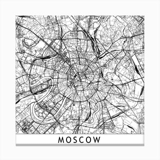 Moscow Map Canvas Print