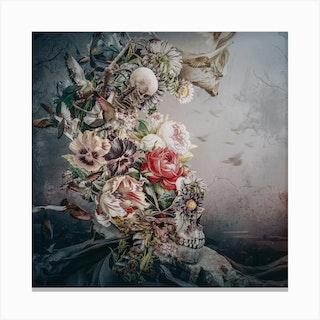 Skull In Moonlight Square Canvas Print