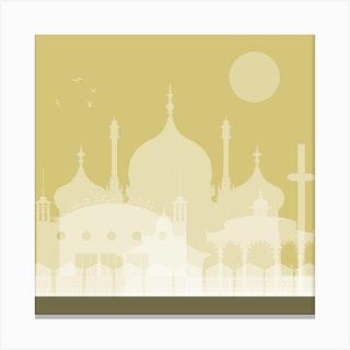 Brighton Landmarks Gold Canvas Print