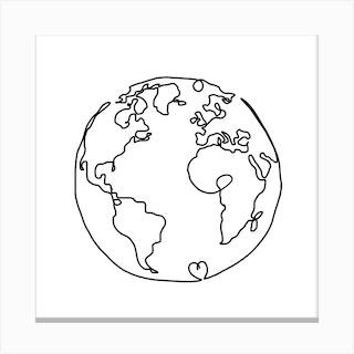 The World In Love Square Canvas Print