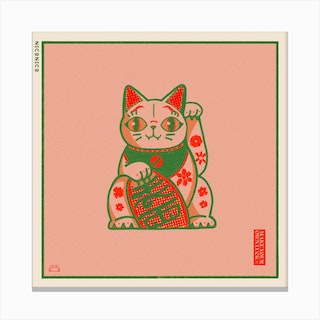 The Lucky Floral Cat Square Canvas Print