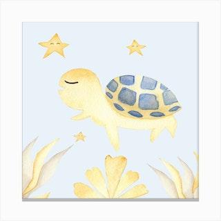Cute Turtle Square Canvas Print