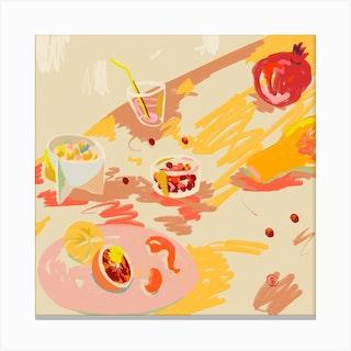Orange And Pink Fruit Square Canvas Print