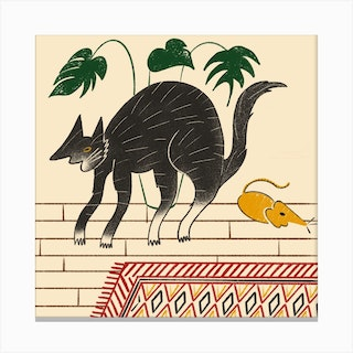 Cat And Cheese Plant Canvas Print