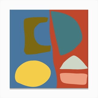 Boho Organic Shapes Square Canvas Print
