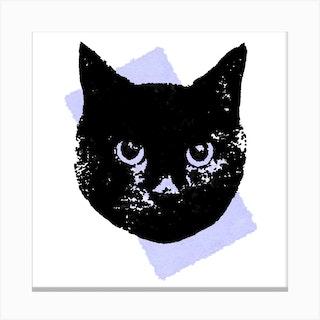 Soft Lilac Cat Square Canvas Print