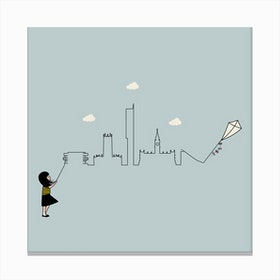 Manchester Skyline Kite Canvas Print