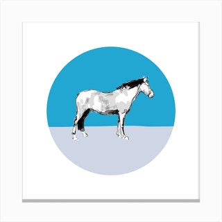 Horse On Blue Grey Square Canvas Print
