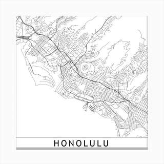 Honolulu Map Canvas Print