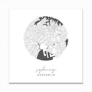 Sydney Australia Circle Map Canvas Print