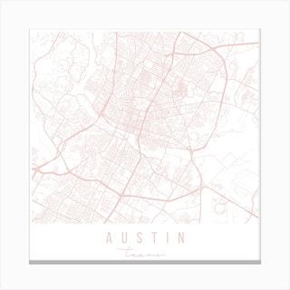 Austin Texas Light Pink Minimal Street Map Square Canvas Print