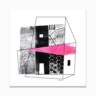 Abstract Collage Pink House Square Canvas Print