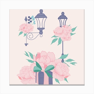 Street Lamps And Peonies Square Canvas Print