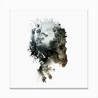 Skull Metamorphosis Square Canvas Print