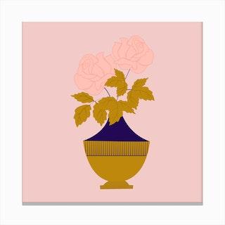 Pink Roses In A Golden Vase 2 Canvas Print