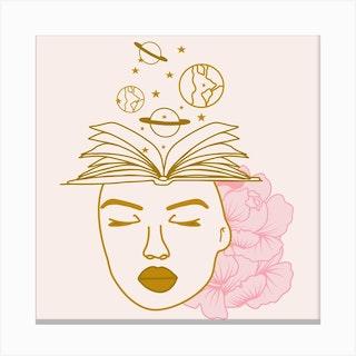 Celestial Woman Square Canvas Print