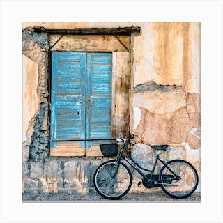 Old Window And Bicycle Canvas Print