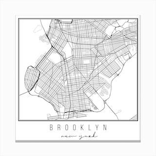 Brooklyn New York Street Map Canvas Print