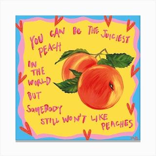 You Juicy Peach Square Canvas Print