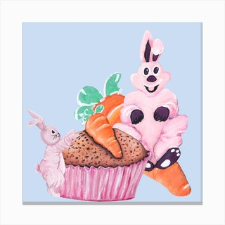 Sweet Easter Carrot Muffin Square Canvas Print