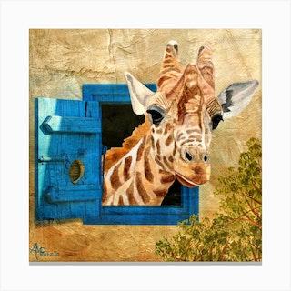 Suddenly A Giraffe Square Canvas Print