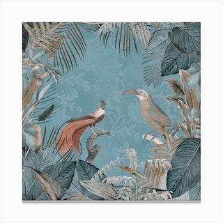 Birds Of Paradise Pastel Blue Canvas Print